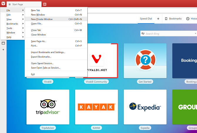 vivaldi open private browser window menu