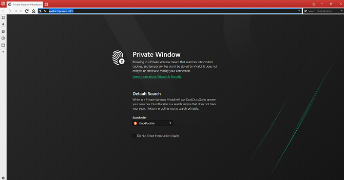 vivaldi private browsing mode on desktop