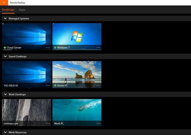 windows remote desktop main screen