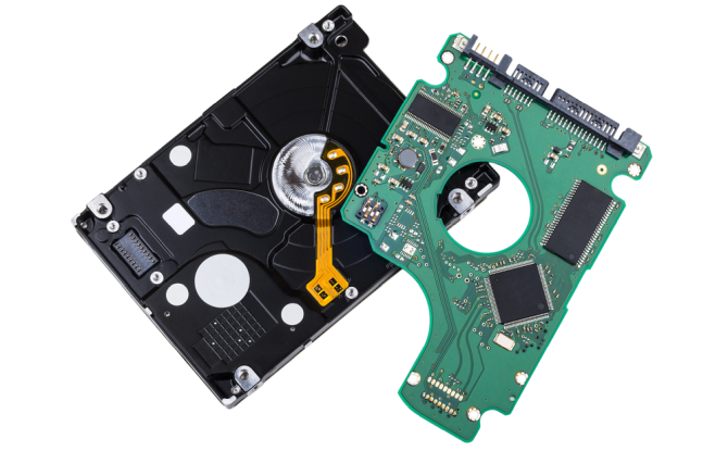 Hard Disk Drive with removed Printed Circuit Board