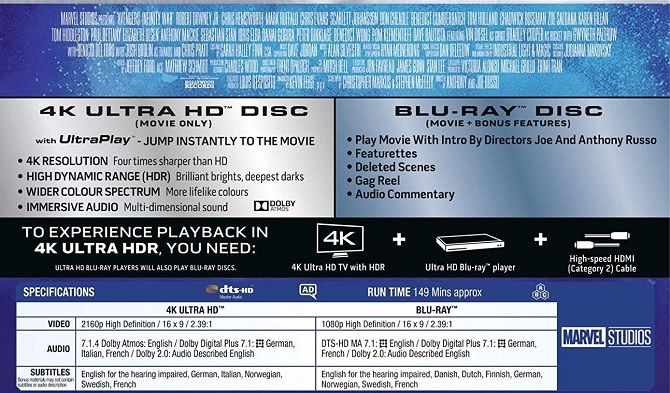 Marvel discs Avengers UltraHD HD