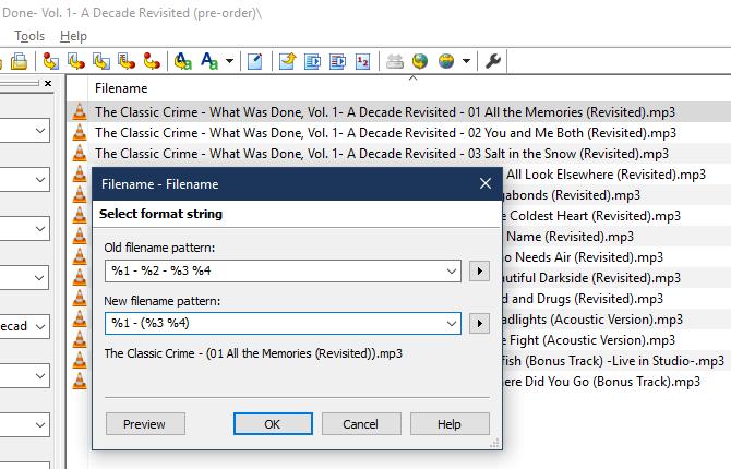 MP3Tag Filename to Filename Conversion