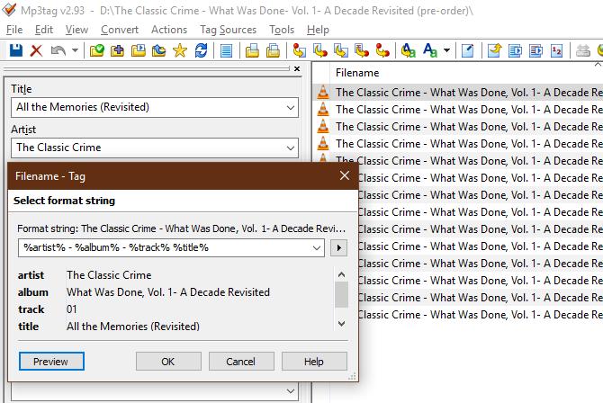 MP3Tag Filename to Tag Conversion