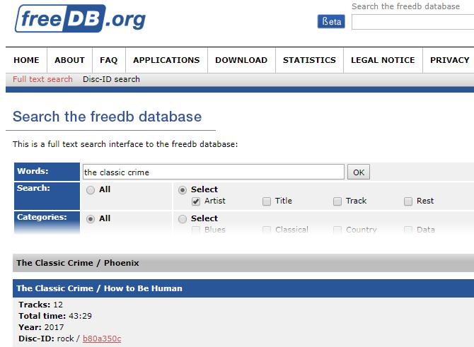 MP3Tag freedb Disc ID Search