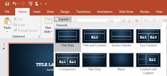 PowerPoint slide layout selection