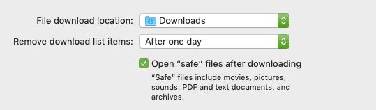 "Clicking the ""Open ""safe"" files"" box in Safari's Preferences"