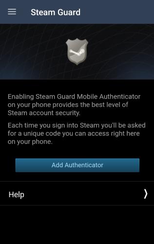 Steam App Add Authenticator Screen