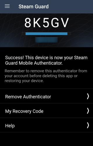 Steam App 2FA Code Example