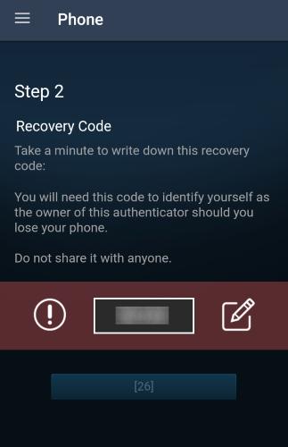 Steam App Recover Code Screen