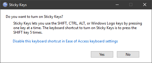 Windows Sticky Keys Dialog