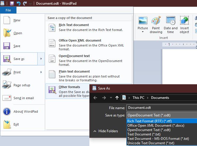 WordPad Save Formats