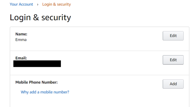 Amazon Security Settings Erase Phone Number
