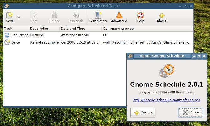 Gnome-Schedule's About screen