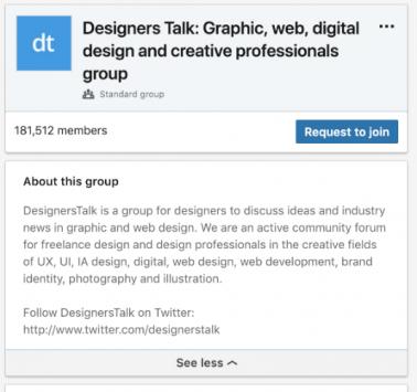 design talk example Linkedin group