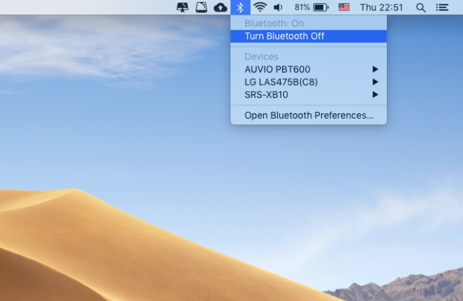 How to turn off Bluetooth on a Mac