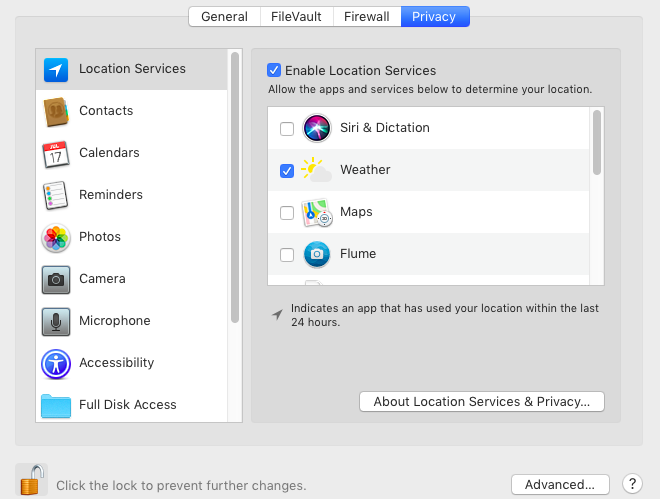 How to disable location services on a MacBook