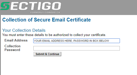 email security course collect digital certificate