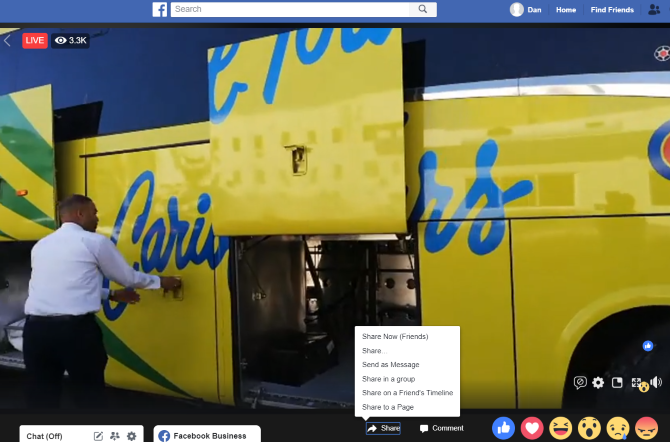 facebook live share menu