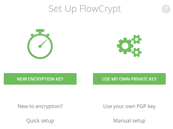 flowcrypt intial setup page
