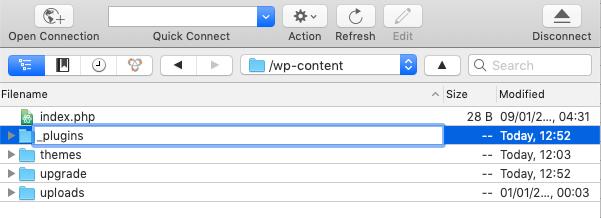 ftp client screen showing renaming plugins folder