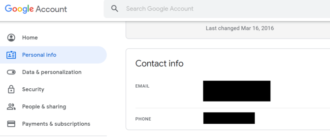 Google Personal Info Settings Erase Phone Number