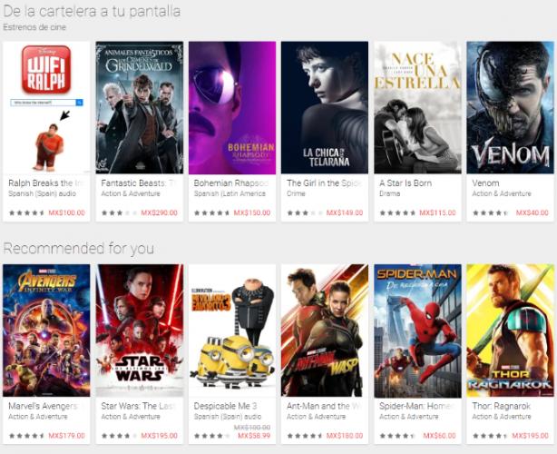 google play movies list