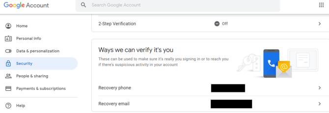 Google Security Settings Erase Phone Number