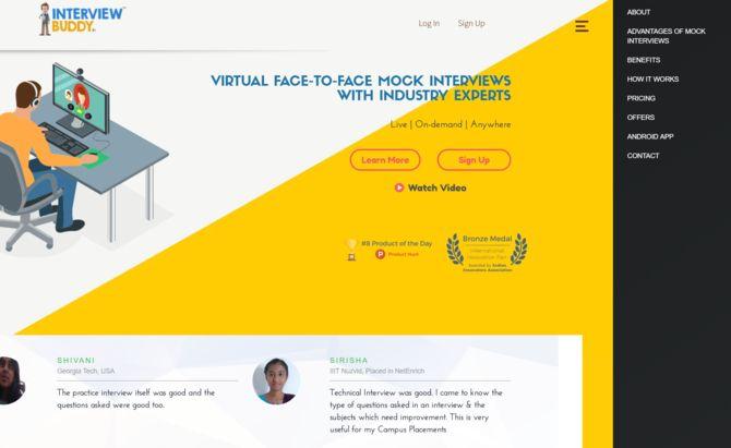 homepage of interviewbuddy