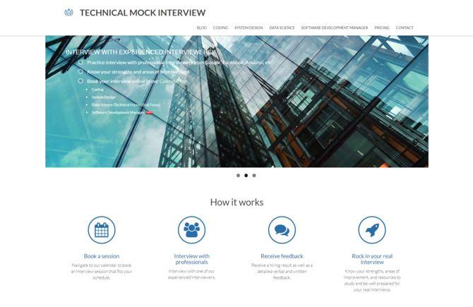 homepage of techmockinterview