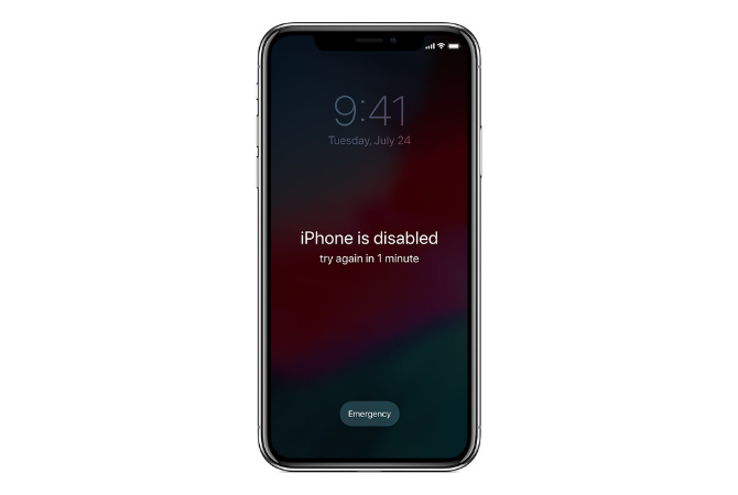 iPhone is Disabled Try again in 1 minute error message