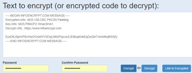infoencrypt message example string