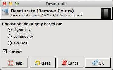 GIMP's Desaturation dialog
