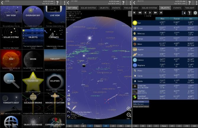 Screenshots from Mobile Observatory 2 app