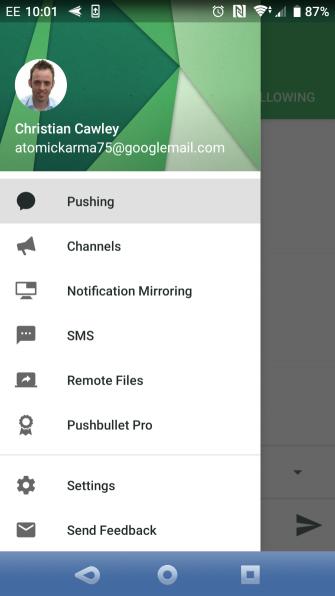 muo android filesync pushbullet menu