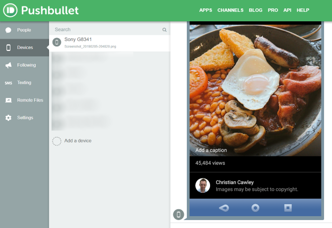 Pushbullet web client displays files that have been shared from Android to your PC