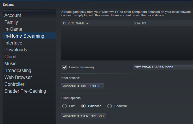 Enable In-Home Streaming in Steam
