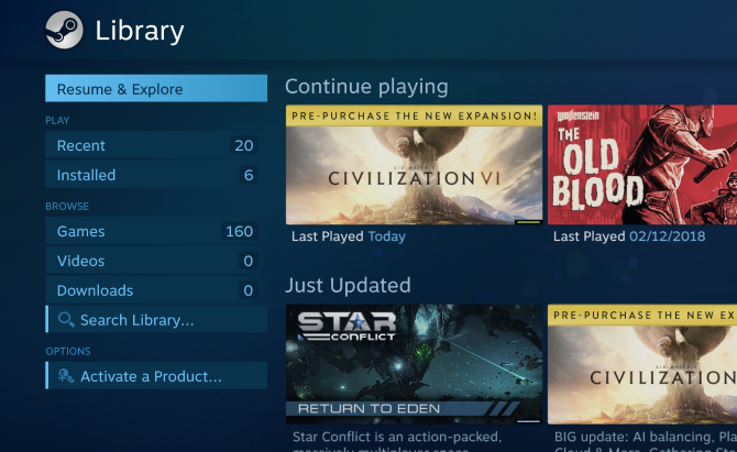 Steam library viewed on Raspberry Pi
