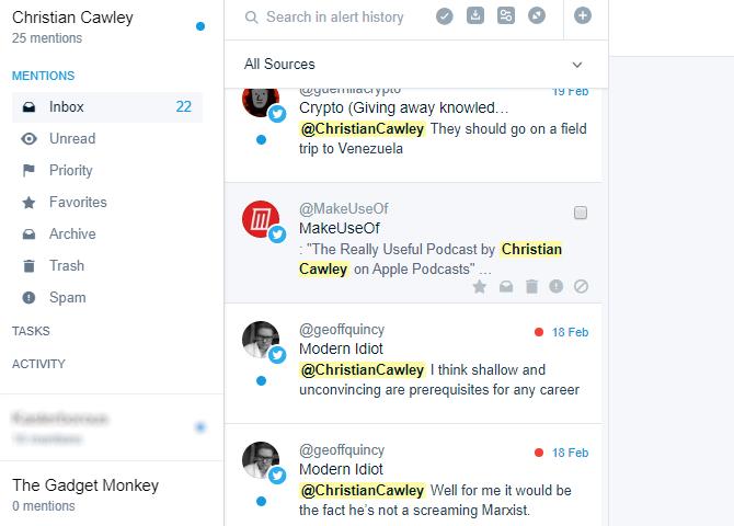Используйте оповещения Mention, чтобы увидеть, если кто-то пытается выследить вас онлайн
