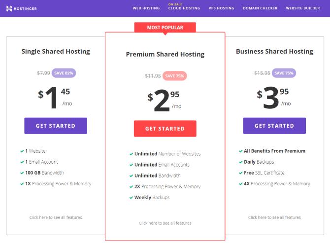 Hostinger's web hosting plans