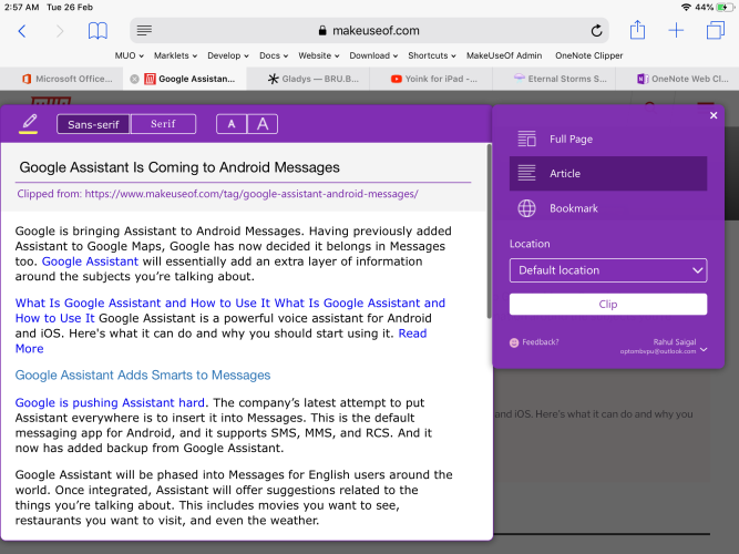 OneNote clipper in action