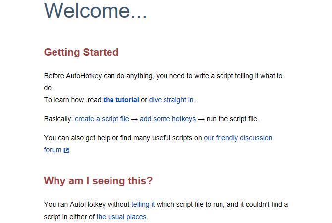 AutoHotkey help document welcome