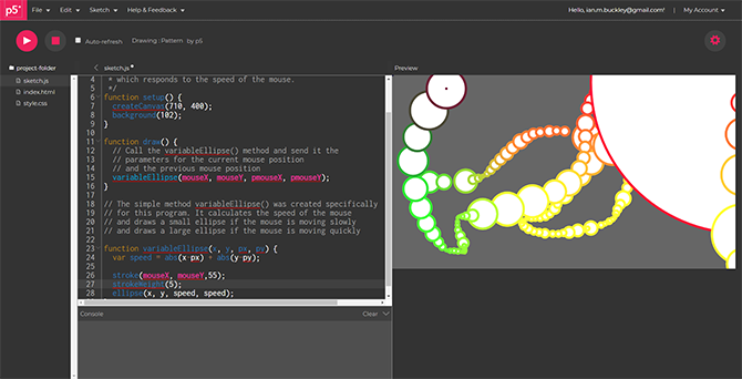 p5.js web editor for creative coding