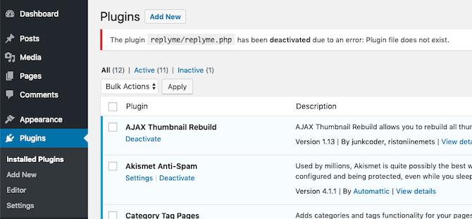 screen showing plugin error when folder has been renamed or deleted