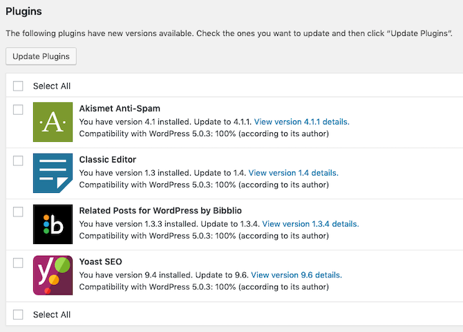 wordpress updates available screen