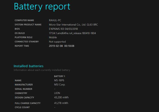 phân tích báo cáo pin powercfg