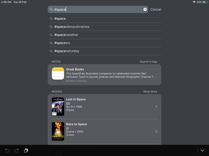 search tages in notes app through spotlight