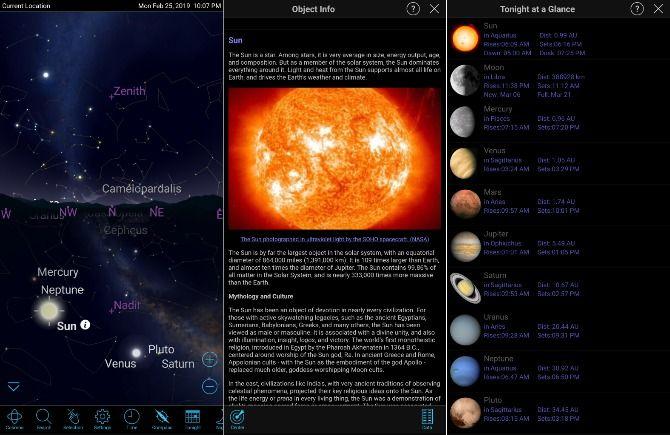 Screenshot from Sky Safari app