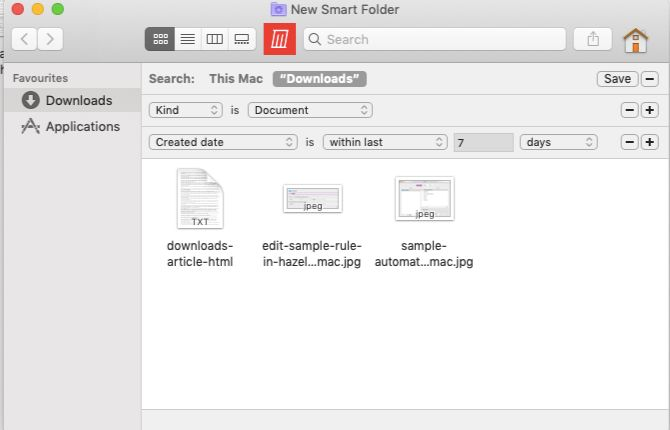 Creating a smart folder in Finder on Mac