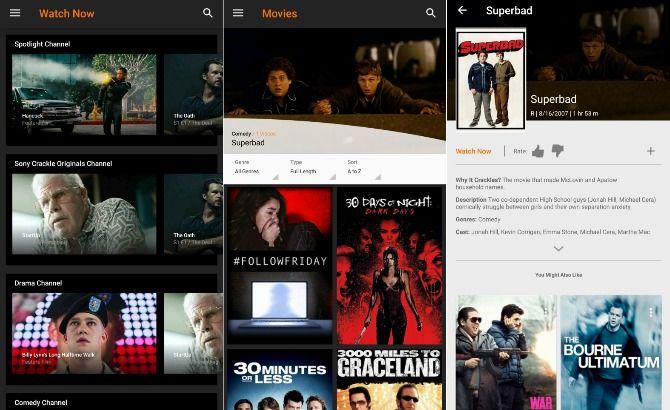 Free movie app Sony Crackle screenshots