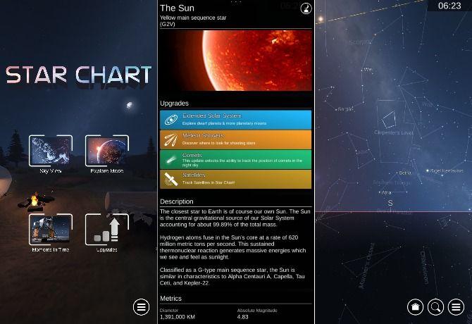 Screenshots from Star Chart app